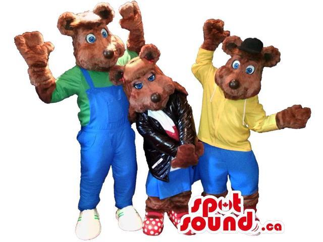 Cool Brown Large Bear Canadian SpotSound Mascots Dressed In Varied Street Wear Clothes