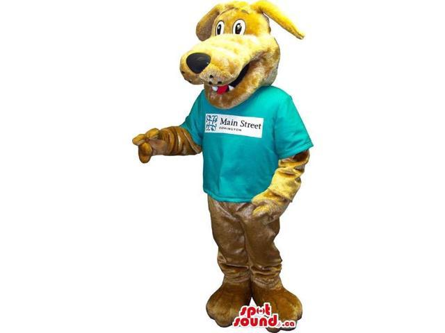 Customised Brown Bear Canadian SpotSound Mascot Dressed In A T-Shirt With Logo