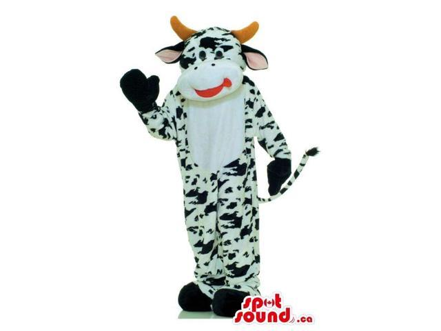 Customised Black And White Cow Animal Canadian SpotSound Mascot With Horns