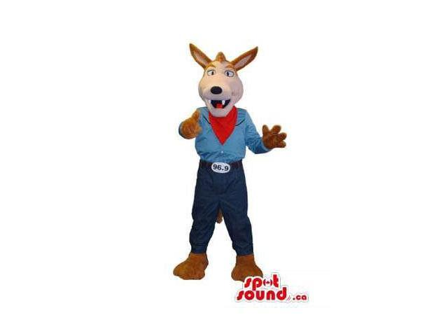 Brown Fox Animal Canadian SpotSound Mascot Dressed In Cowboy Clothes And Neck Scarf