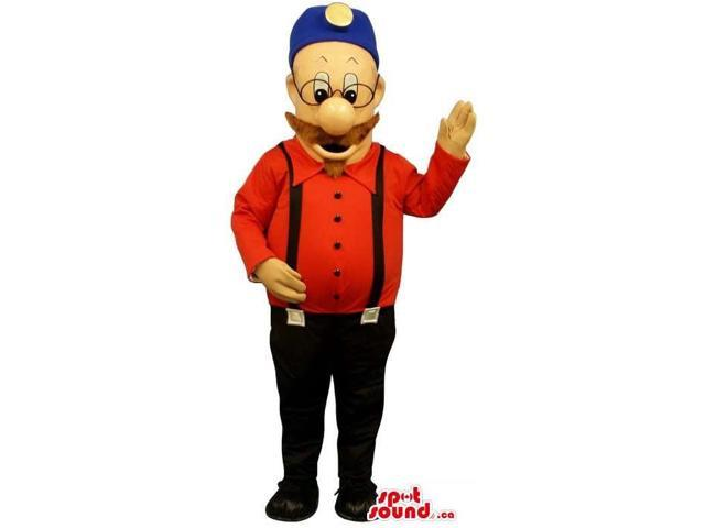 Human Canadian SpotSound Mascot With Moustache Dressed In Red And Black Clothes