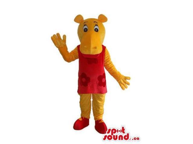 Cute Yellow Hippopotamus Girl Canadian SpotSound Mascot Dressed In A Red Dress