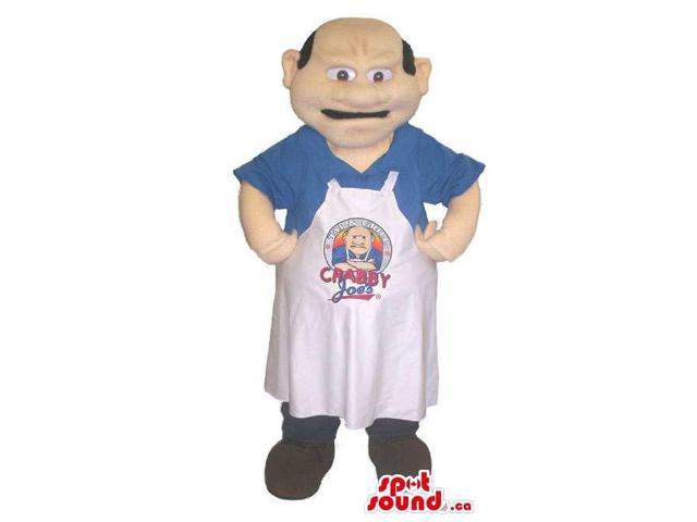 Cook Human Canadian SpotSound Mascot With Bold Head Dressed In A White Apron
