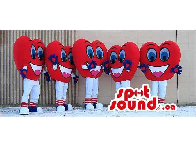Group Of Five Heart Canadian SpotSound Mascots In Red And White With Cute Faces
