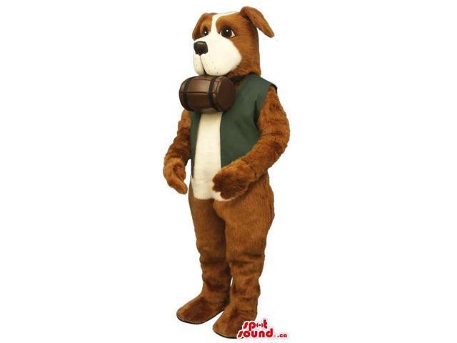Brown Saint Bernard Dog Canadian SpotSound Mascot With Barrel And Green Vest