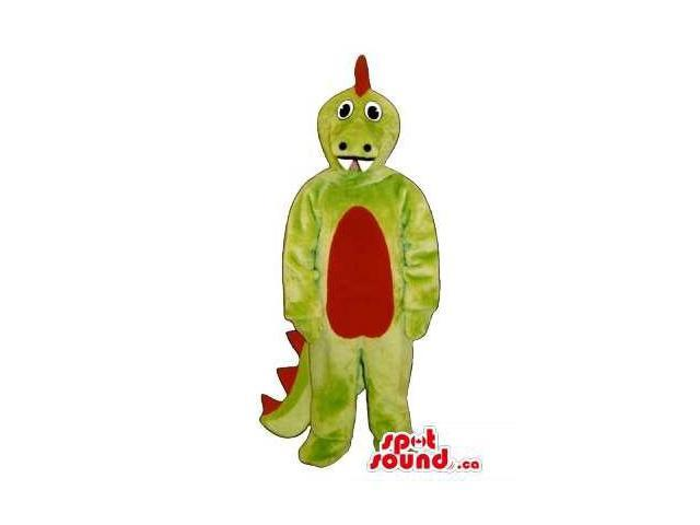 Green Dragon Plush Canadian SpotSound Mascot With A Red Belly And Spikes