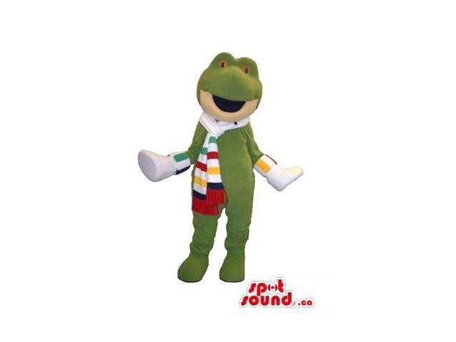 Green Frog Animal Canadian SpotSound Mascot Dressed In A Striped Scarf And Shoes