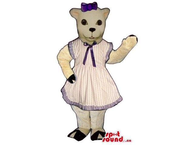 White Cat Plush Canadian SpotSound Mascot Dressed In A Stripes Apron Dress And Ribbon