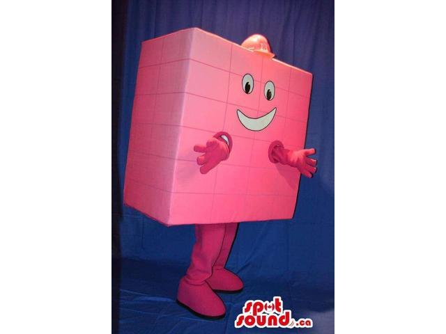 Peculiar Pink Square Brick Canadian SpotSound Mascot Dressed In A Red Helmet