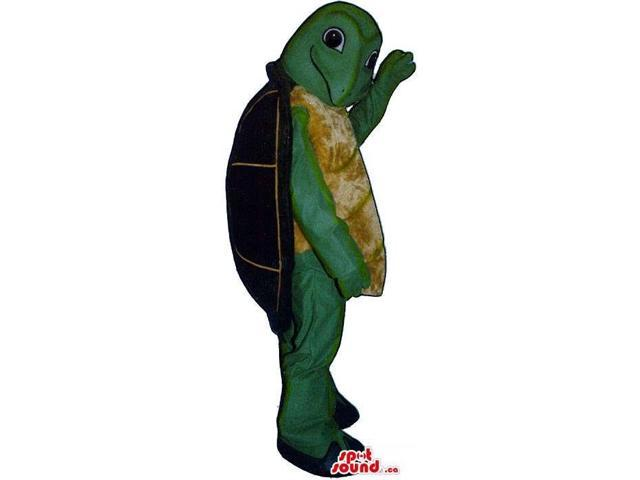 Cute Green And Brown Turtle Plush Canadian SpotSound Mascot With A Back Shell