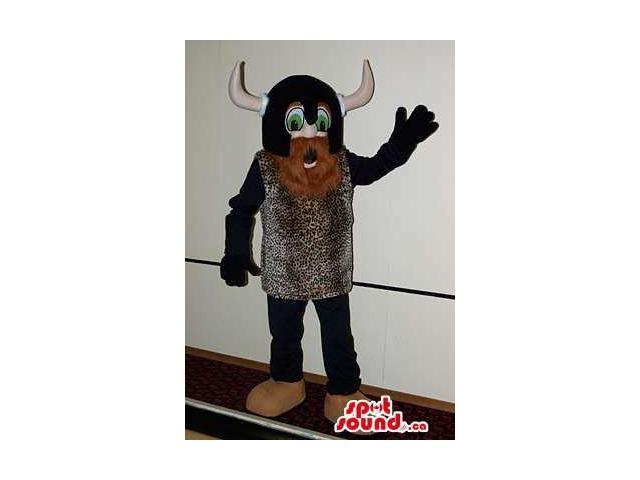 Viking Character Canadian SpotSound Mascot Dressed In Special Brown Clothes