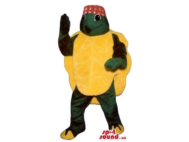 Turtle Plush Canadian SpotSound Mascot With A Huge Yellow Back Shell Dressed In A Hat