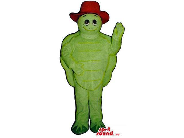 Customised All Green Turtle Plush Canadian SpotSound Mascot Dressed In A Red Hat