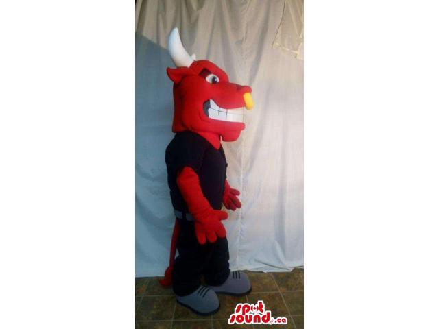 Red Bull Animal Canadian SpotSound Mascot Dressed In Black Gear With Nose Ring