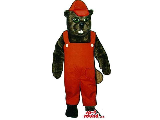 Black Chipmunk Plush Canadian SpotSound Mascot Dressed In Red Overalls And Cap