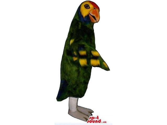 Exotic Parrot Canadian SpotSound Mascot With Colourful Wings And Open Beak