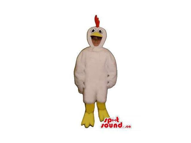 Cute White Hen Children Size Plush Costume Or Disguise