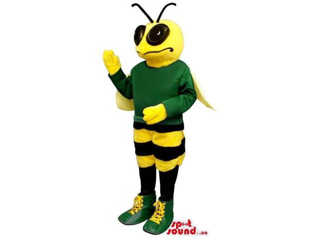 Bee Plush Canadian SpotSound Mascot Dressed In A Green Customised Top And Shoes