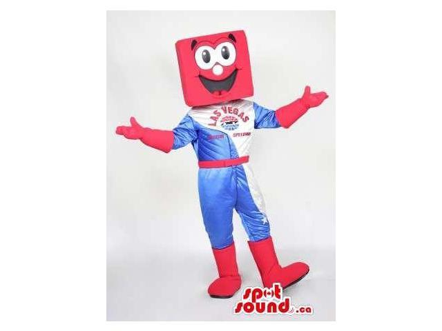 Red Square Head Canadian SpotSound Mascot Dressed In Formula 1 Gear And Boots