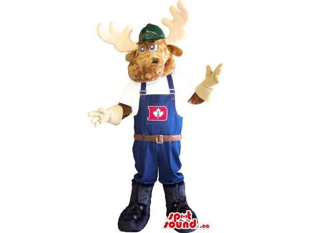Deer Animal Canadian SpotSound Mascot Dressed In Worked Overalls With A Letter