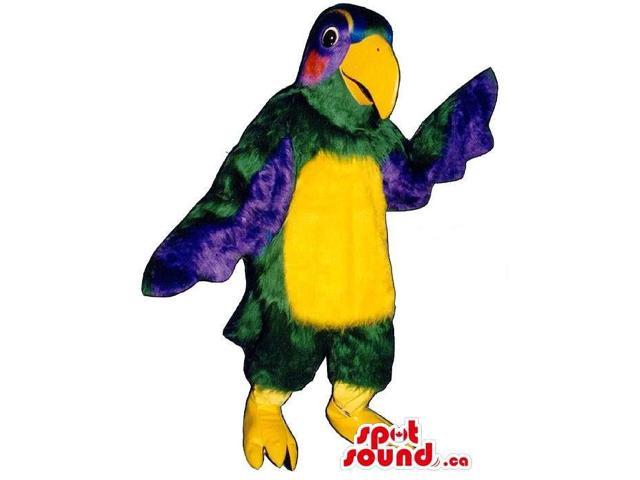 Green Parrot Bird Plush Canadian SpotSound Mascot With Colourful Wings