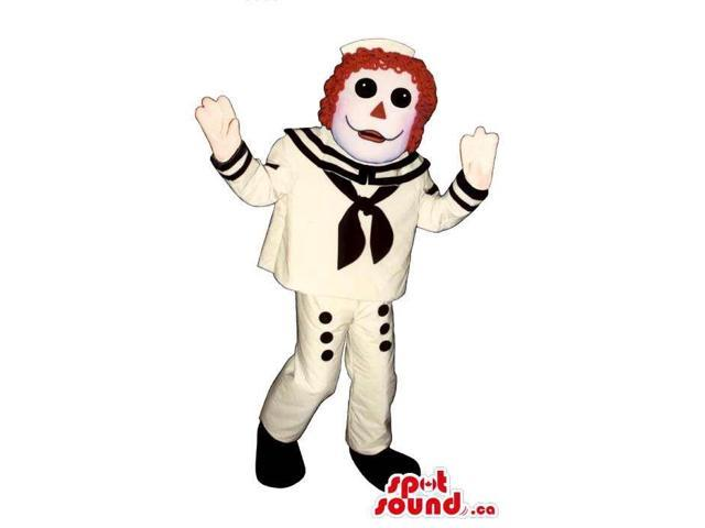 White Puppet Plush Canadian SpotSound Mascot With Red Hair Dressed In Sailor Gear