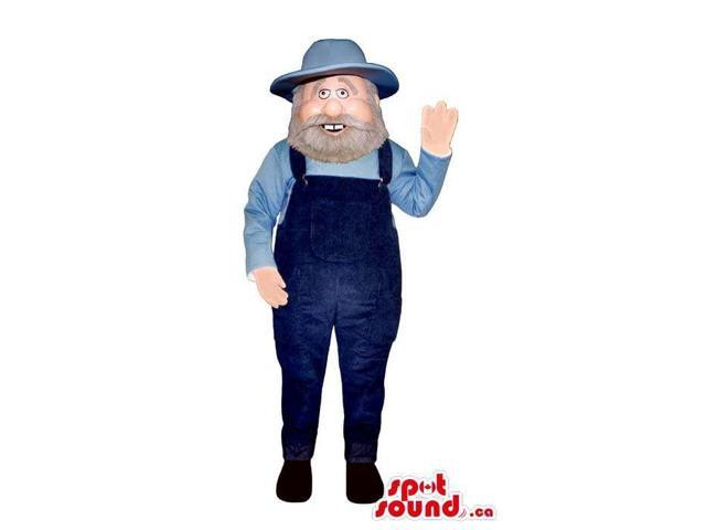 Smiling Farmer Character Canadian SpotSound Mascot Dressed In A Blue Shirt And Overalls