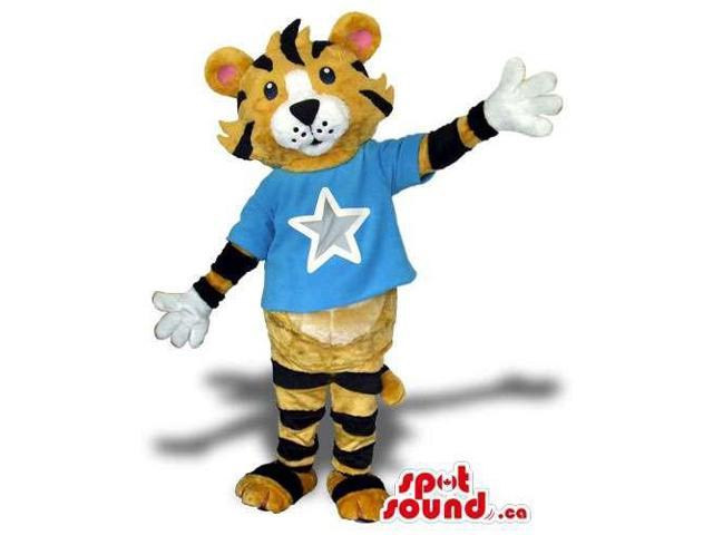 Tiger Animal Plush Canadian SpotSound Mascot Dressed In A Blue T-Shirt With A