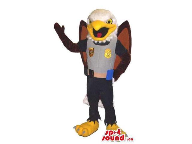 American Eagle Bird Animal Canadian SpotSound Mascot Dressed In Police Officer Gear
