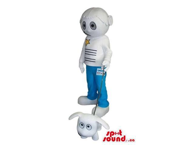 White Futuristic Girl Canadian SpotSound Mascot Dressed In Jeans Walking A Dog