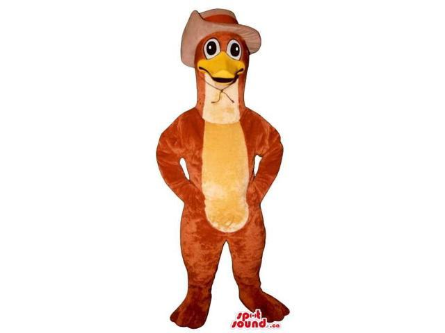 Customised Red Duck Face Plush Canadian SpotSound Mascot Dressed In A Cowboy Hat