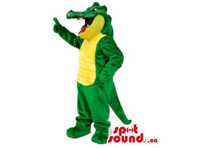 Lovely Green And Yellow Crocodile Canadian SpotSound Mascot With A Smile