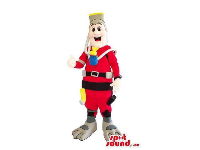 Human Canadian SpotSound Mascot Dressed In Scuba Diving Gear And Gadgets