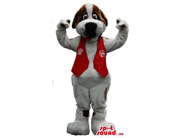 White Dog Canadian SpotSound Mascot With Brown Spots Dressed In A Red Vest