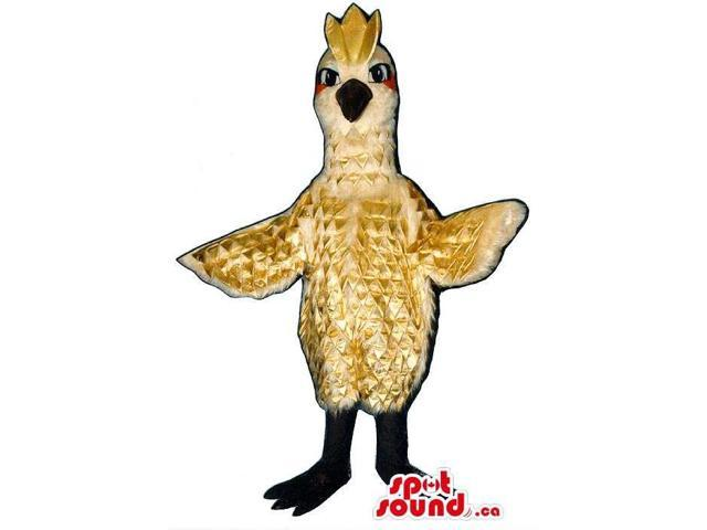 Special Exotic Beige Bird Canadian SpotSound Mascot With Brown Comb And Black Beak