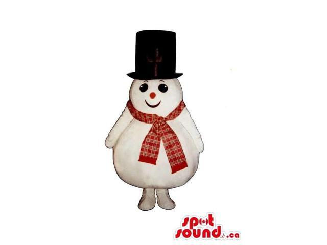 Customised Snowman Plush Canadian SpotSound Mascot Dressed In A Large Top Hat And Scarf