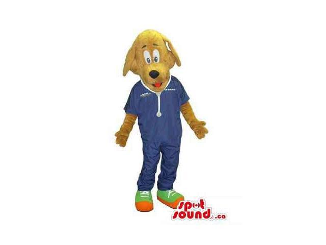 Brown Dog Animal Canadian SpotSound Mascot Dressed In Vet Doctor Gear And Gadgets
