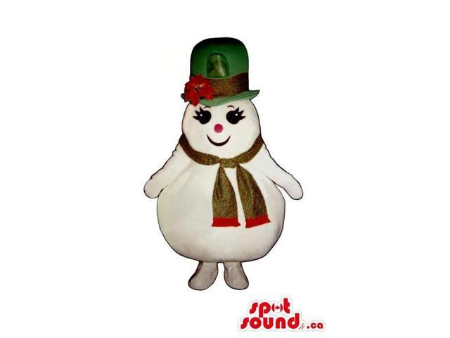 Snowman Girl Plush Canadian SpotSound Mascot Dressed In A Large Top Hat And A Scarf