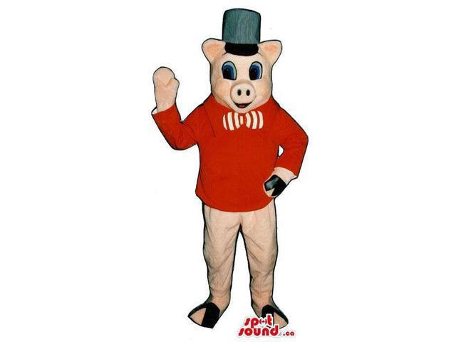 Pig Plush Canadian SpotSound Mascot Dressed In A Hat, Bow Tie And Red Jacket