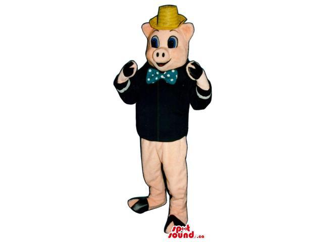 Pig Plush Canadian SpotSound Mascot Dressed In A Hat, Bow Tie And Black Jacket