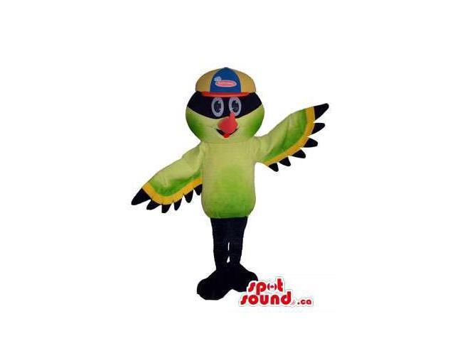 Great Colourful Bird Plush Canadian SpotSound Mascot Dressed In A Cap With Brand Name