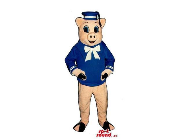 Customised Pig Plush Canadian SpotSound Mascot Dressed In Sailor Clothes