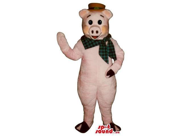 Pig Plush Canadian SpotSound Mascot Dressed In A Red Hat And A Checked Neck Scarf