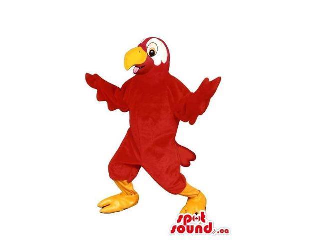 Flashy Red Bird Plush Canadian SpotSound Mascot With White Eyes And A Yellow Beak