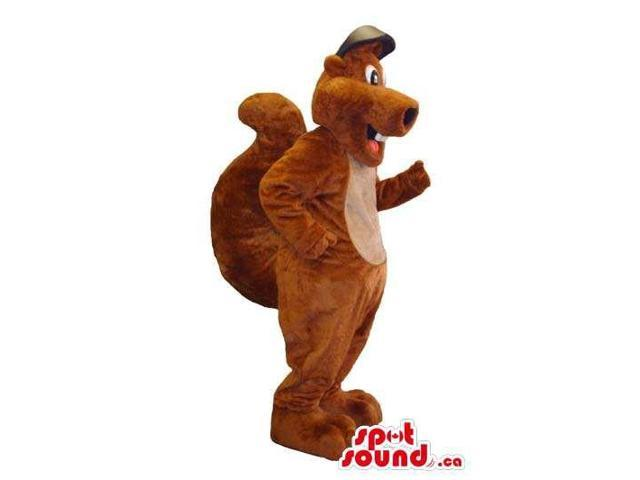 All Brown Squirrel Animal Plush Canadian SpotSound Mascot Dressed In A Cap