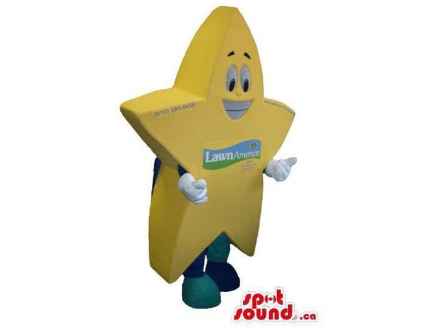 Yellow Large Star Canadian SpotSound Mascot With Space For Logos Or Brand Names