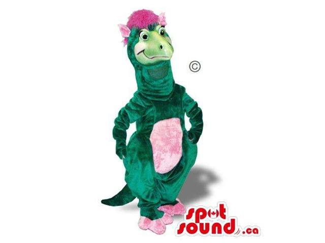 Green Girl Dinosaur Plush Canadian SpotSound Mascot With A Pink Belly