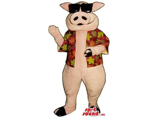 Pig Plush Canadian SpotSound Mascot Dressed In A Summer Shirt And Sunglasses