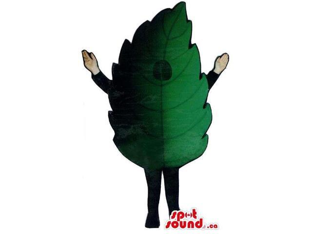 Peculiar Large Green And Black Leaf Plush Canadian SpotSound Mascot With No Face
