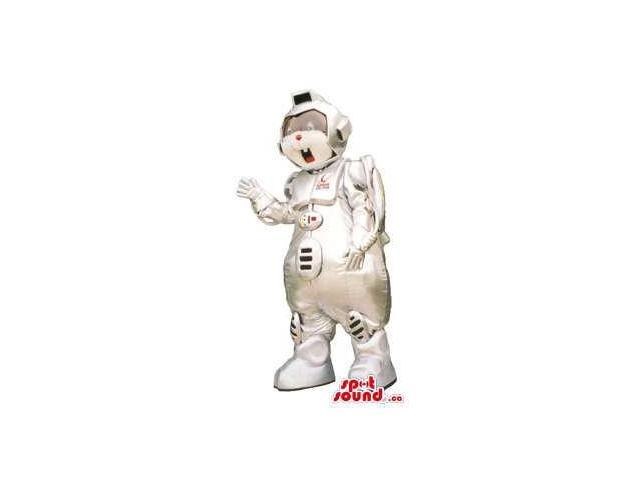 Customised Peculiar All White Robot Canadian SpotSound Mascot With Buttons